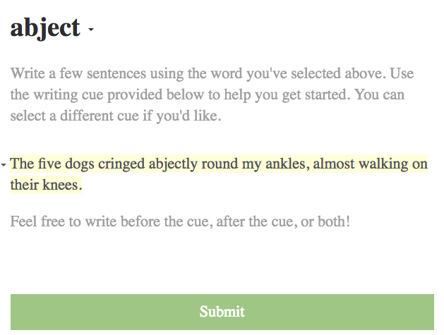 Sample writing assignment: abject